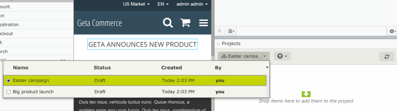 Create and work with multiple projects in EPiServer CMS 8