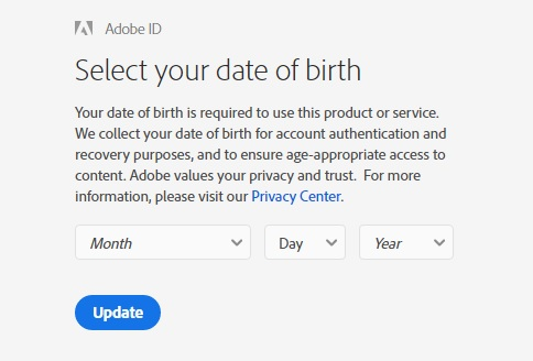 Adobe birthday check, write DD/MM/YY